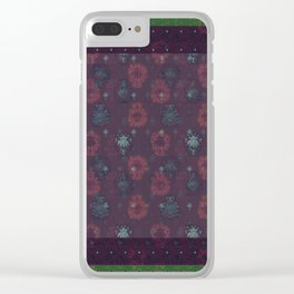 Lotus flower patchwork with green border, woodblock print style pattern Clear iPhone Case