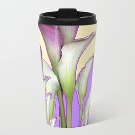WHITE-MAROON CALLA LILIES PURPLE VIOLET ART DESIGN Travel Mug