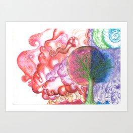 clouds (pointillism) Art Print