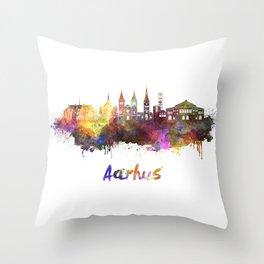 Aarhus skyline in watercolor Throw Pillow