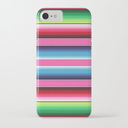 Pink Green Blue Mexican Serape Blanket Stripes iPhone Case