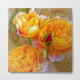 Heirloom Impressionist Yellow Roses and Buds Metal Print