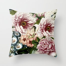 Vintage Peony and Ipomea Pattern - Smelling Dreams Throw Pillow