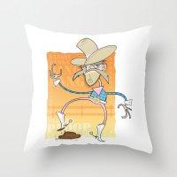 poop Throw Pillows featuring Cow Poop by breakfastjones