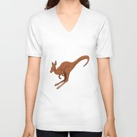 kangaroo V-neck T-shirts featuring Kangaroo by Imaginative Ink