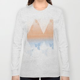 Delightful pink and blue leafs Long Sleeve T-shirt
