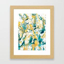 Teal and Gold Splatter Paint  Framed Art Print