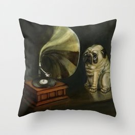 Pug and His Master´s Voice Throw Pillow