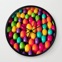 gumball Wall Clocks featuring Rainbow Candy: Gumballs by WhimsyRomance&Fun
