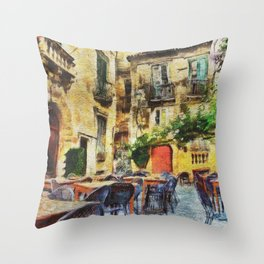 Vintage streets in Calabria Tropea Throw Pillow