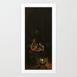 Willem Joseph Laquy - Triptych with an Allegory of Art Education, left panel, Night School Art Print