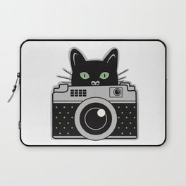 Black Cat and Camera Laptop Sleeve