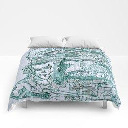 Encre vert Comforters