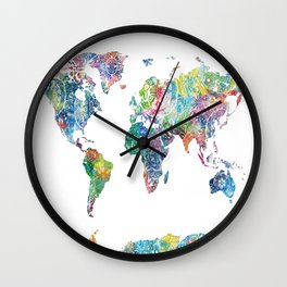 world map mandala watercolor white Wall Clock