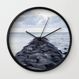 Rocky Jetty Over Ocean Wall Clock