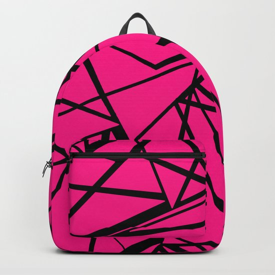 Geometric pattern in bright crimson and black colours . Backpack