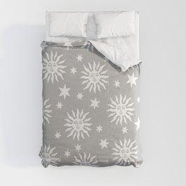 Mid Century Modern Sun and Star Pattern Gray Comforters