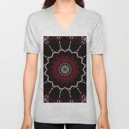 Deep Ruby Red Mandala Design Unisex V-Neck