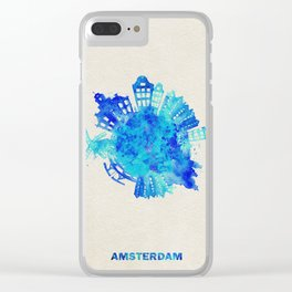Amsterdam, The Netherlands Colorful Skyround / Skyline Watercolor Painting Clear iPhone Case