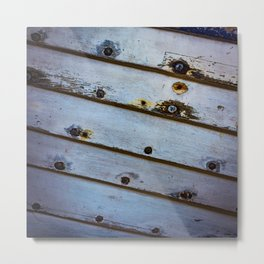 Old White Wooden Boat Metal Print