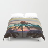 palm tree Duvet Covers featuring Palm Tree by Benjamin Robles Art