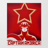 soviet Canvas Prints featuring Soviet Art - Captain America by Greg Guillemin