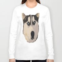 duvet cover Long Sleeve T-shirts featuring DOG DUVET COVER by aztosaha