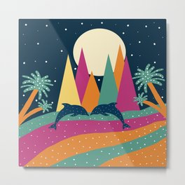 Mountains and dolphins Metal Print