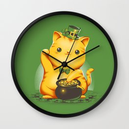 Irish Lucky Cat Wall Clock