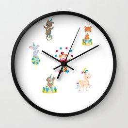 Circus Clown And Animals Wall Clock