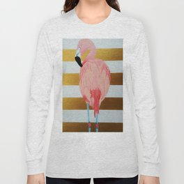 Striped Flamingo Long Sleeve T-shirt