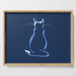 Sitting Cat from behind in Blue Serving Tray