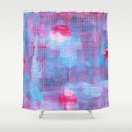 Crimson Clover, Abstract Monoprint Painting Shower Curtain