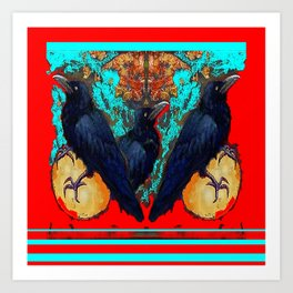 Crow-Ravens Family Red Southwest Style Abstract Art Print