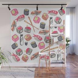 Cute Trendy Watercolor Sushi Sake and Chopsticks Wall Mural