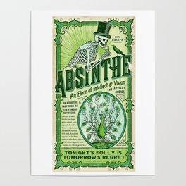 Vintage 1871 Absinthe Liquor Skeleton Advertisement Poster