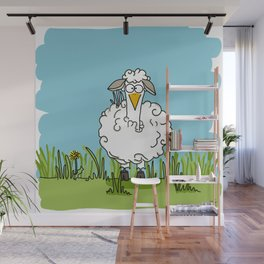Eglantine la poule (the hen) dressed up as a sheep Wall Mural