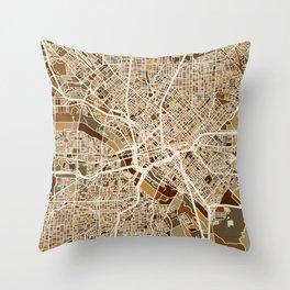 Dallas Texas City Map Throw Pillow