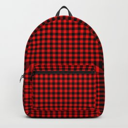 Small Valentine Red Heart Rich Red and Black Buffalo Check Plaid Backpack