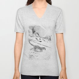 Snowboarder and snow leopard down the slope Unisex V-Neck