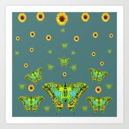 BLUE-GREEN-YELLOW PATTERNED MOTHS YELLOW SUNFLOWERS Art Print