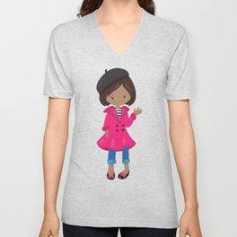 African American Girl, Fashion Girl, Black Beret Unisex V-Neck