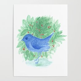 Blue bird and shrub watercolor painting Poster