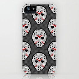 Knitted Jason hockey mask pattern iPhone Case