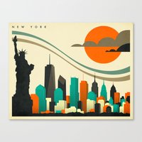 new york skyline Canvas Prints featuring NEW YORK SKYLINE by Jazzberry Blue