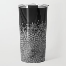 Black and White Gerbera Daisy Travel Mug