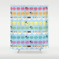 cafe Shower Curtains featuring Cute Cafe by Inappropriately Adorable