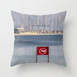 Dubai No Swimming Sign Throw Pillow