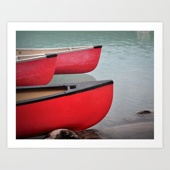 Red Canoes Art Print