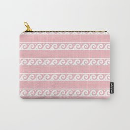 Pink and white Greek wave ornament pattern Carry-All Pouch